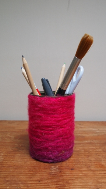 woolen wrapped pen pot