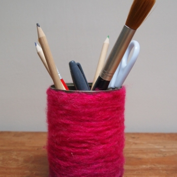 woolen wrapped pen pot